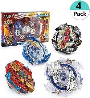 REAMOUS 4 Pcs Gyro Spinning Fusión de Metal Fight Master, Gyro Launcher con Estadio, Juego de empuñadura de Metal con Base Arena Fusion 4D Caja, Regalo para Niños