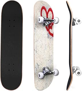 Classic Concave Skateboard Colorful spray paint splatters on the wall detailed close up texture Canadian Maple Trick Skate...