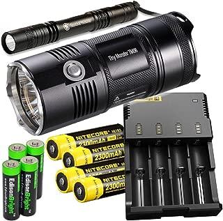 Nitecore TM06 3800 Lumen CREE LED super compact Flashlight/Searchlight, Nitecore i4 smart charger, 4 X Nitecore NL183 18650 Li-ion batteries, Smith & Wesson Pathmarker LED flashlight, with 4 x EdisonBright AA Alkaline batteries bundle