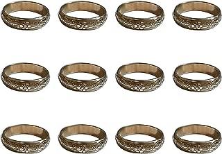 Worldexplorer Handmade Gold Napkin Rings Set of Engraved Brass Design for Home Kitchen Dining Room Table (Pack of 12)