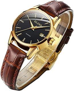 Men Women Watches Brown Leather-OLEVS Classic Analog Quartz Watch Week Date Casual Luminous Black/Blue/White Dial 3ATM Waterproof Wrist Watch Lovers
