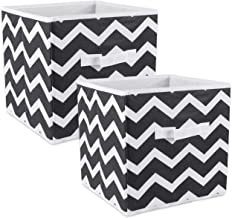 DII Fold-able Fabric Storage Container, 11 x 11 x 11-Inch, Set of 2, Black Chevron, Small (2)