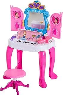 HOMCOM Mesita Tocador Infantil Juguete Piano con Taburete 15 Accesorios Espejo con Remoto