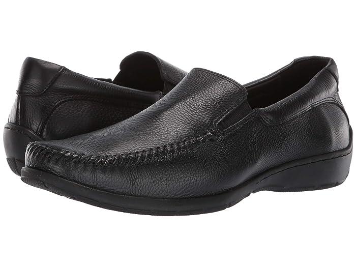 Johnston and Murphy  Crawford Venetian (Black Tumbled Full Grain) Mens Slip on  Shoes