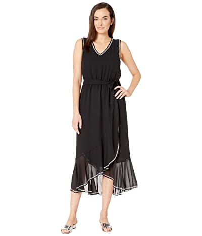 Vince Camuto Belted Embroidered Chiffon Dress (Rich Black) Women