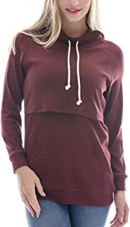 Women's Maternity Nursing Hoodie Long Sleeve Casual Breastfeeding Tops