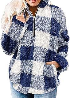 Sudadera Mujer Caliente y Esponjoso Felpa Estampada De Manga Larga Chaqueta Suéter Abrigo Mujer Otoño-Invierno Talla Grand...