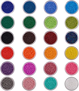 BENECREAT 24 Boxes of About 24000 Pcs 11/0 Multicolor Beading Glass Seed Beads 24 Colors Round Pony Bead Mini Spacer Beads Diameter 2mm with Container Box for Jewelry Making