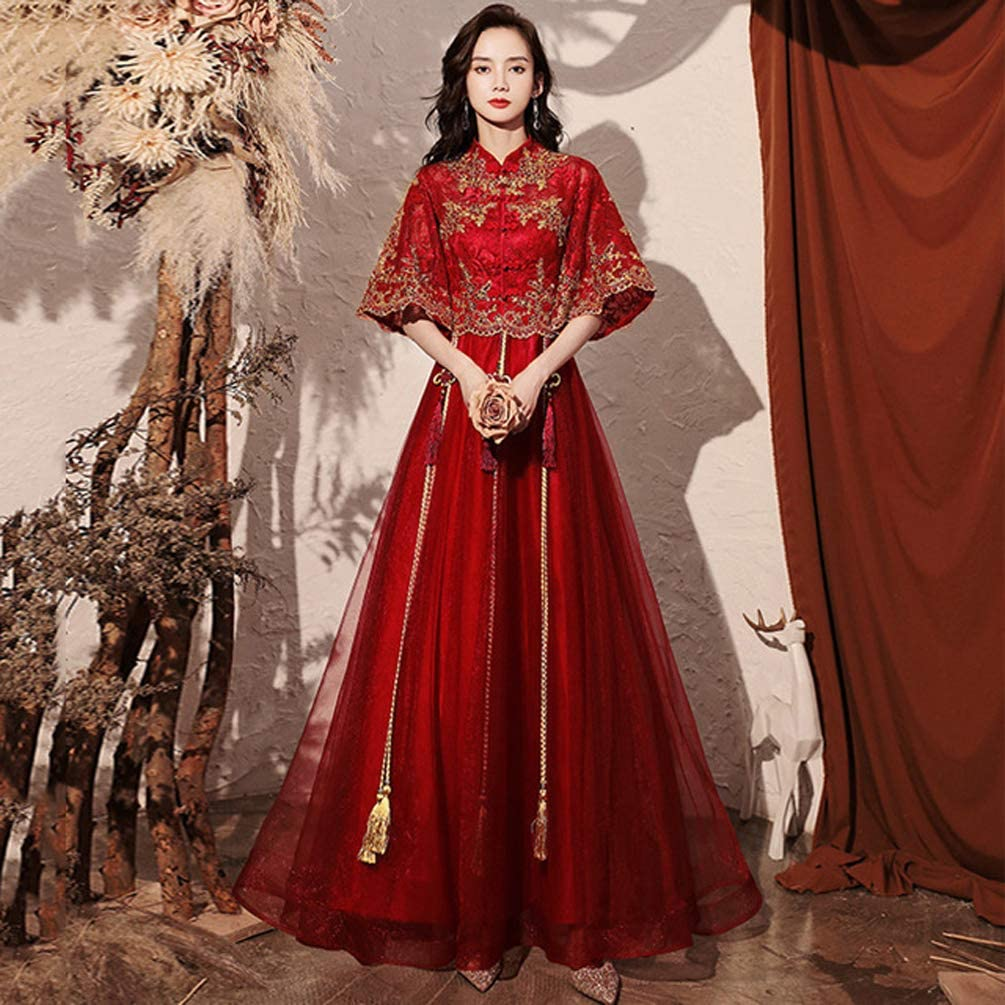 Amazon Com Ghkj Traditional Chinese Wedding Dress Elegant Long Oriental Female Embroidered Wedding Dress Added Modern Elements Modify The Waist Outline The Graceful Figure Look Thin And Tall Xxl Home Kitchen