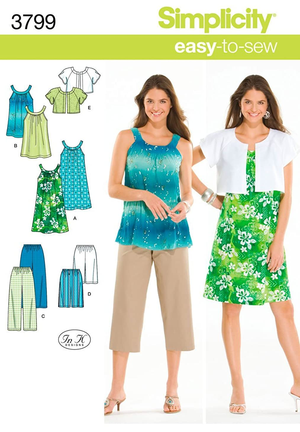 Simplicity Easy To Sew Women's Dress, Tunic, Cropped Pants, City Shorts, and Jacket Sewing Patterns, Sizes XXS-M
