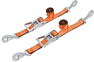 PowerTye Mfg 2 in Wide x 8 ft Long Industrial-Grade Heavy-Duty Ratchet Tie-Downs for UTV and AUTO, Locking Ratchet and Secure Twist Hooks, Orange (Pair)