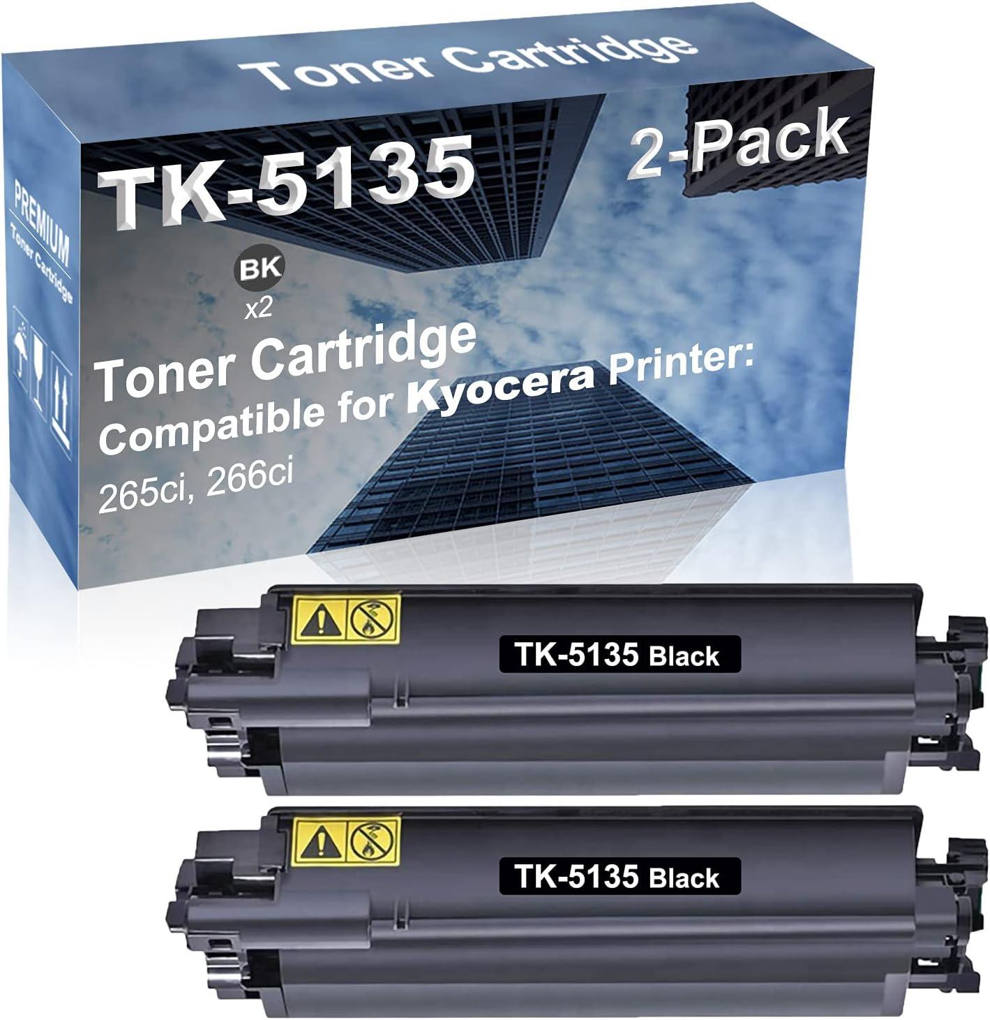 2-Pack (Black) Compatible 265ci, 266ci Printer Toner Cartridge High Capacity Replacement for Kyocera TK-5135 (TK-5135BK) Toner Cartridge