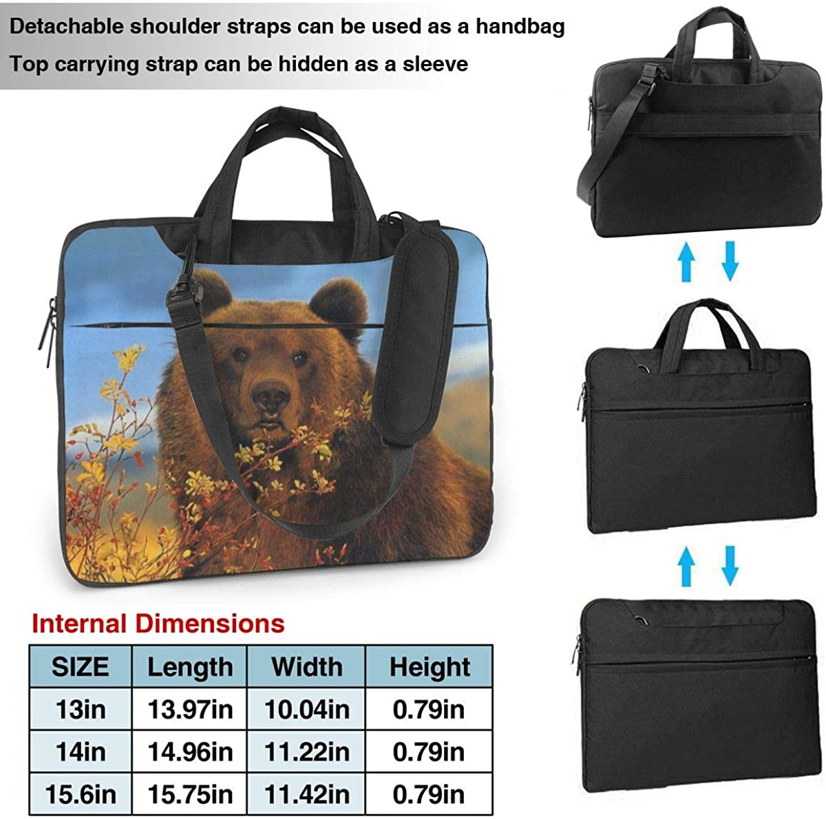 Leaves Brown Bear Laptop Tote Bag Compatible with 13-15.6in Laptop Carrying Shoulder Handbag Briefcase with Strap