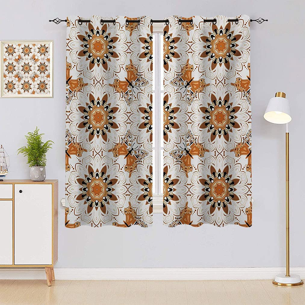 Tan Shipping included and Brown Curtains Symmetrical Figures Posi Butterflies Regular discount