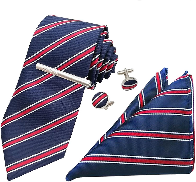 Christmas Gifts Mens Classic Stripe Necktie Hanky Cufflinks