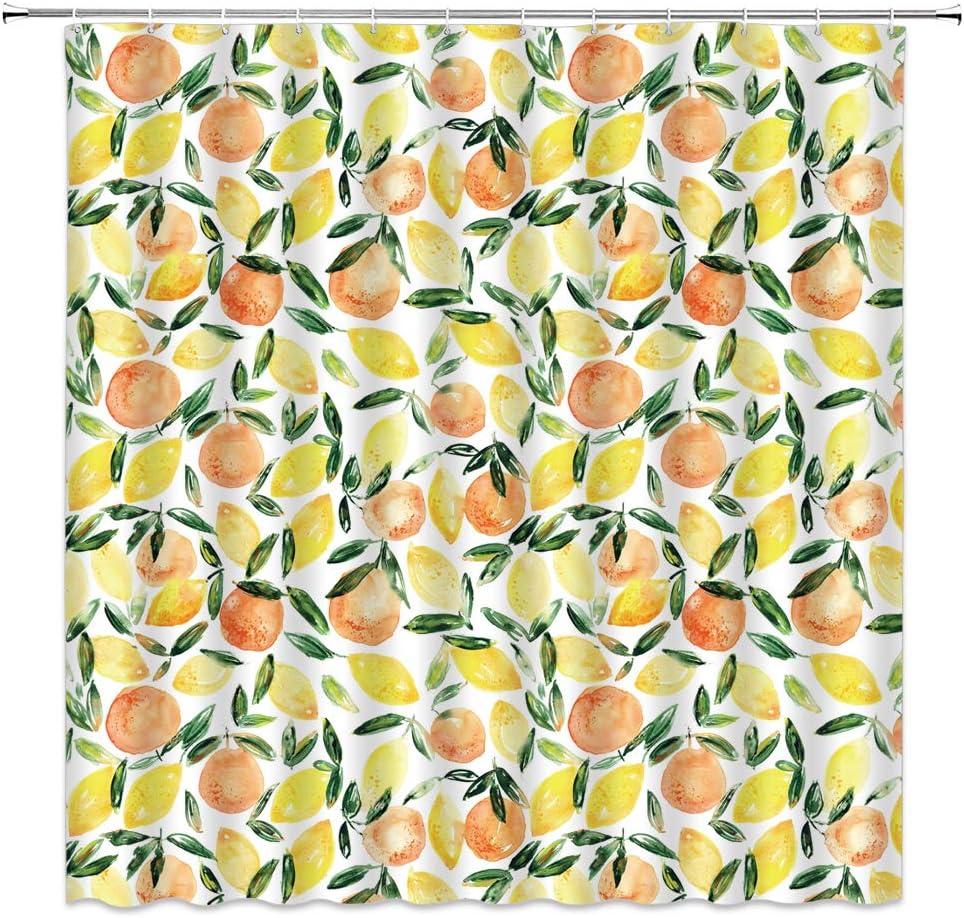 WZFashion 海外並行輸入正規品 Peach Shower Curtains Co ブランド買うならブランドオフ Lemon Watercolor Bright