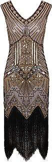 Vijiv Women 1920s Gastby Sequin Art Nouveau Embellished Night Out & Cocktail Dress