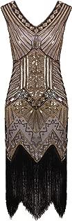 Women 1920s Gastby Sequin Art Nouveau Embellished Fringed Flapper Dress