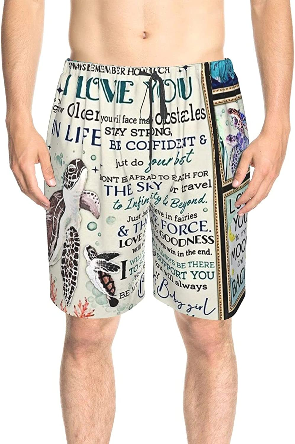 JINJUELS Mens Swim Trunks to My Daughter Swim Boardshorts Quick Dry Comfy Summer Beach Shorts with Lining