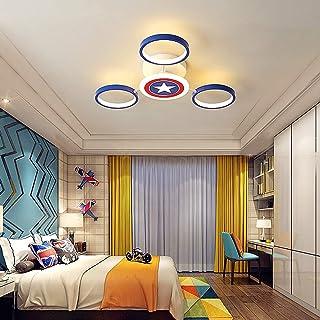 Techo del LED lámpara de techo Capitán América creativo del dibujo animado luz de techo decorativo moderno luces del bebé de la lámpara de acrílico pared de la pantalla,6000k,3 heads