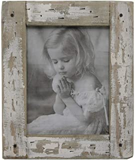 kuip Design 4x6 Picture Frame Rustic Distressed Weathered Reclaimed Wood Cream Stand with Easel Back Horizontally or Vertically on The Tabletop Decor