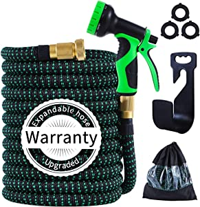 PARAIN 25 ft Expandable Garden Hose- Lightweight No Kink 3750D Fabric- 9 Functions Spray Nozzle-Leakproof 3 Layers Natural Latex -3/4