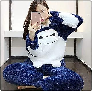 Pijamas de Invierno Conjuntos de Pijama Rosa Lindo de dibujos animados Animal Gruesa ropa de dormir, Girly Franela Con Sombrero de Felpa Coral Polar Mujer Casual Ropa de Hogar