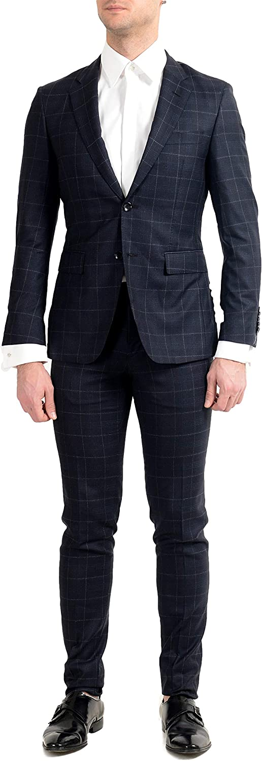 Hugo Boss T-Royston/Wain1 Men's Extra Slim 100% Wool Plaid Two Button Suit US 38S IT 48S