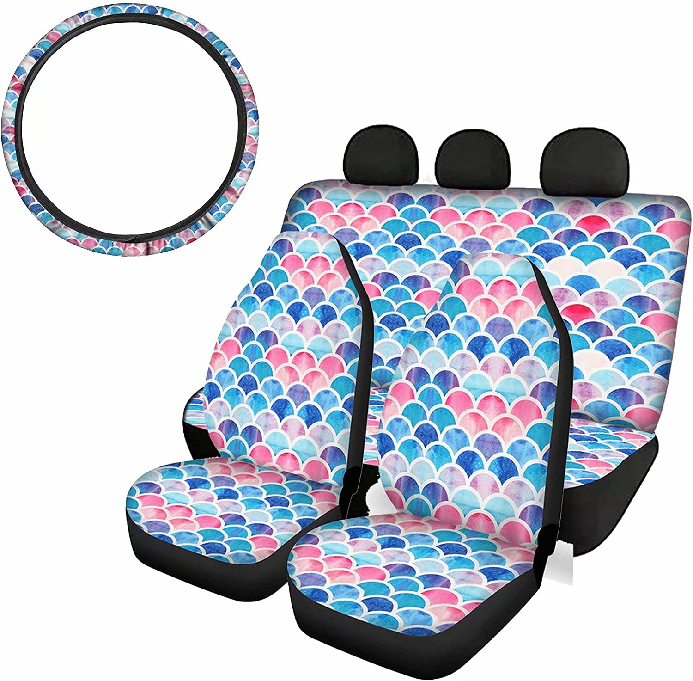 cheap TSVAGA 5 Pcs Set Blue Pink Car Seat Front Rear Cover Regular discount Print