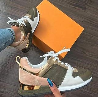 N-B Sneakers Scarpe da Corsa Piatte da Donna Sneakers da Donna Sneakers Casual con Plateau in Pelle Scamosciata Traspirante