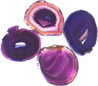 """Natural Sliced Dyed Agate Coaster with Rubber Bumper Set of 4 (Q. 1 Purple, 3.5-4""""), By JIC Gem"""