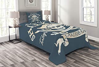 Lunarable Pirate Bedspread, Shark Cove Tortuga Island Caribbean Waters Retro Jolly Roger, Decorative Quilted 2 Piece Coverlet Set with Pillow Sham, Twin Size, Mustard Blue