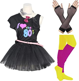 FUNDAISY Gilrs 80s Costume Accessories Fancy Outfit Dress for 1980s Theme Party Supplies