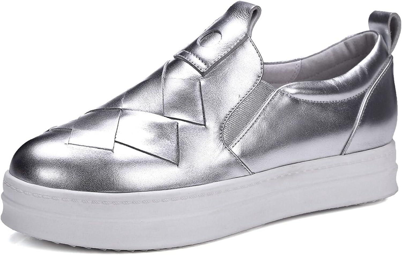 VIMISAOI Women's Casual Genuine Leather Loafers Hidden Heel Wedges Platform Fashion Sneakers