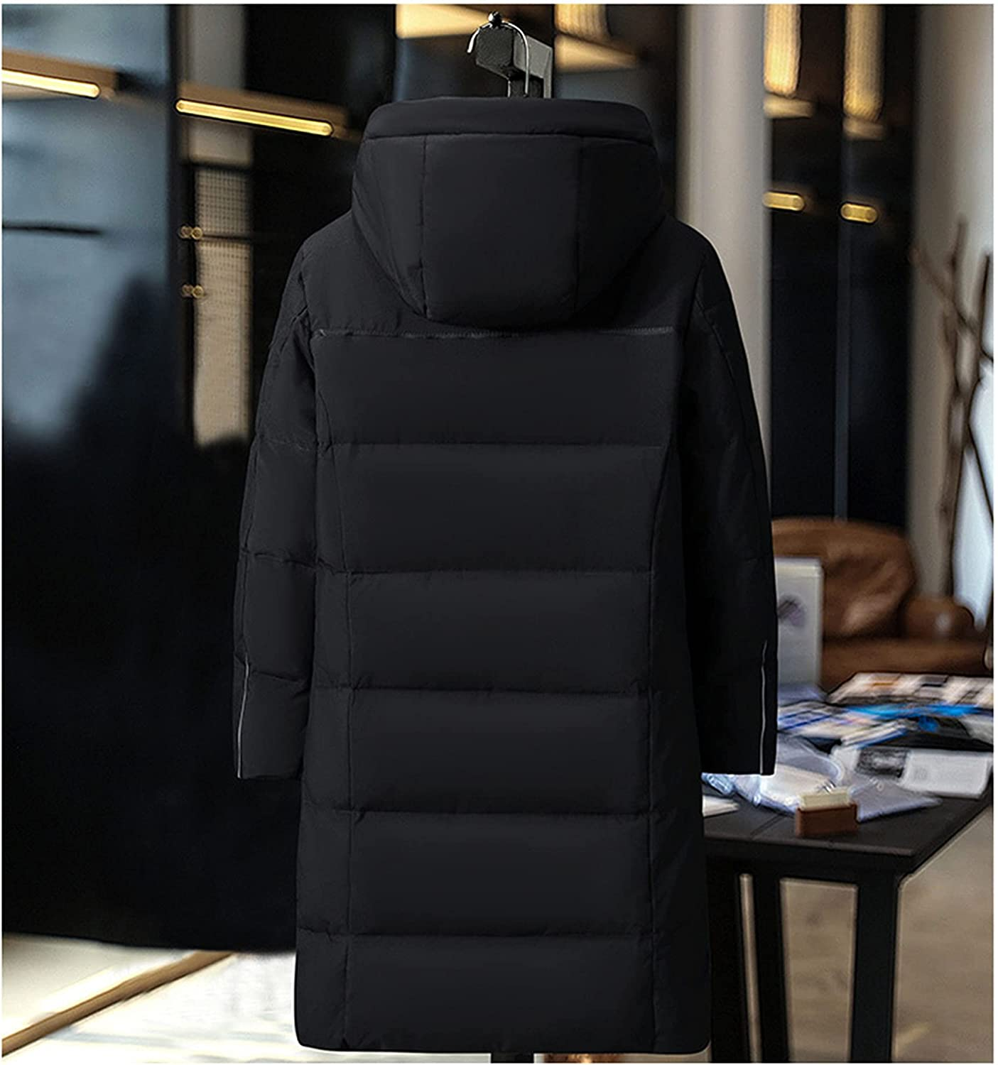 LZJDS Down Jacket Men's Winter New Men's Jacket Thick Warm White Duck Down Hooded Mid-Length Down Jacket
