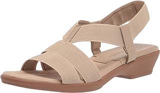 Easy Street Women's Block Heel Sandal Wedge, Natural Gore, 5
