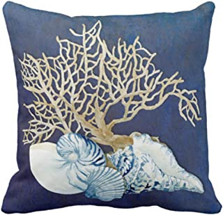 Emvency Throw Pillow Cover Blue Seashore Indigo Ocean Coral Seashells Beach House Gray Coastal Decorative Pillow Case Home Decor Square 20 x 20 Inch Pillowcase