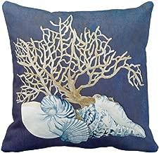 Emvency Throw Pillow Cover Blue Seashore Indigo Ocean Coral Seashells Beach House Gray Coastal Decorative Pillow Case Home Decor Square 20 x 20 Inch Pillowcase