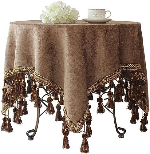 A-Lnice Nappes antiques européennes modernes, nappe voiturerée simple, housse de table anti-poussière pour la cuisine, table, décoration, dessus de table (Couleur   marron, taille   Square 140  200CM)