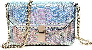 Remeehi Hologram Snake Skin Leather Shoulder Bag Crossbody Bag with Chain