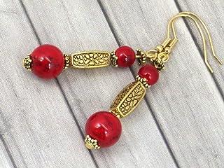 Orecchini in metallo dorato Thurcolas in Turchese Rosso della gamma Medicis