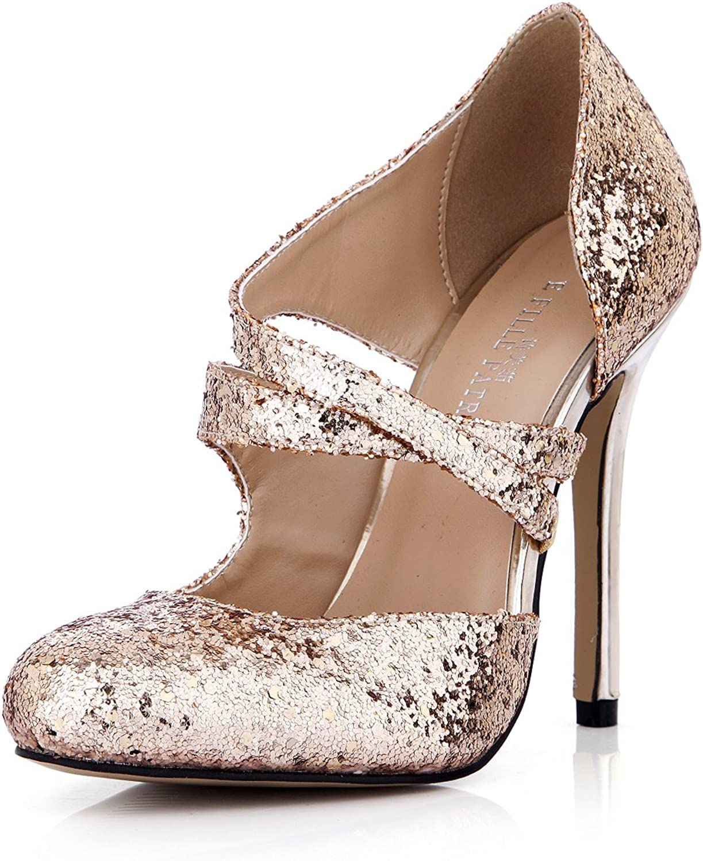 DolphinGirl Women Fashion Glitter gold Pointy Toe 12CM High Heels Dress Pumps Stiletto shoes SM00105