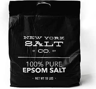 New York Salt Co Epsom Bath Salt 19lbs Magnesium Sulfate USP Bulk Quantity Resealable Bag (Unscented)