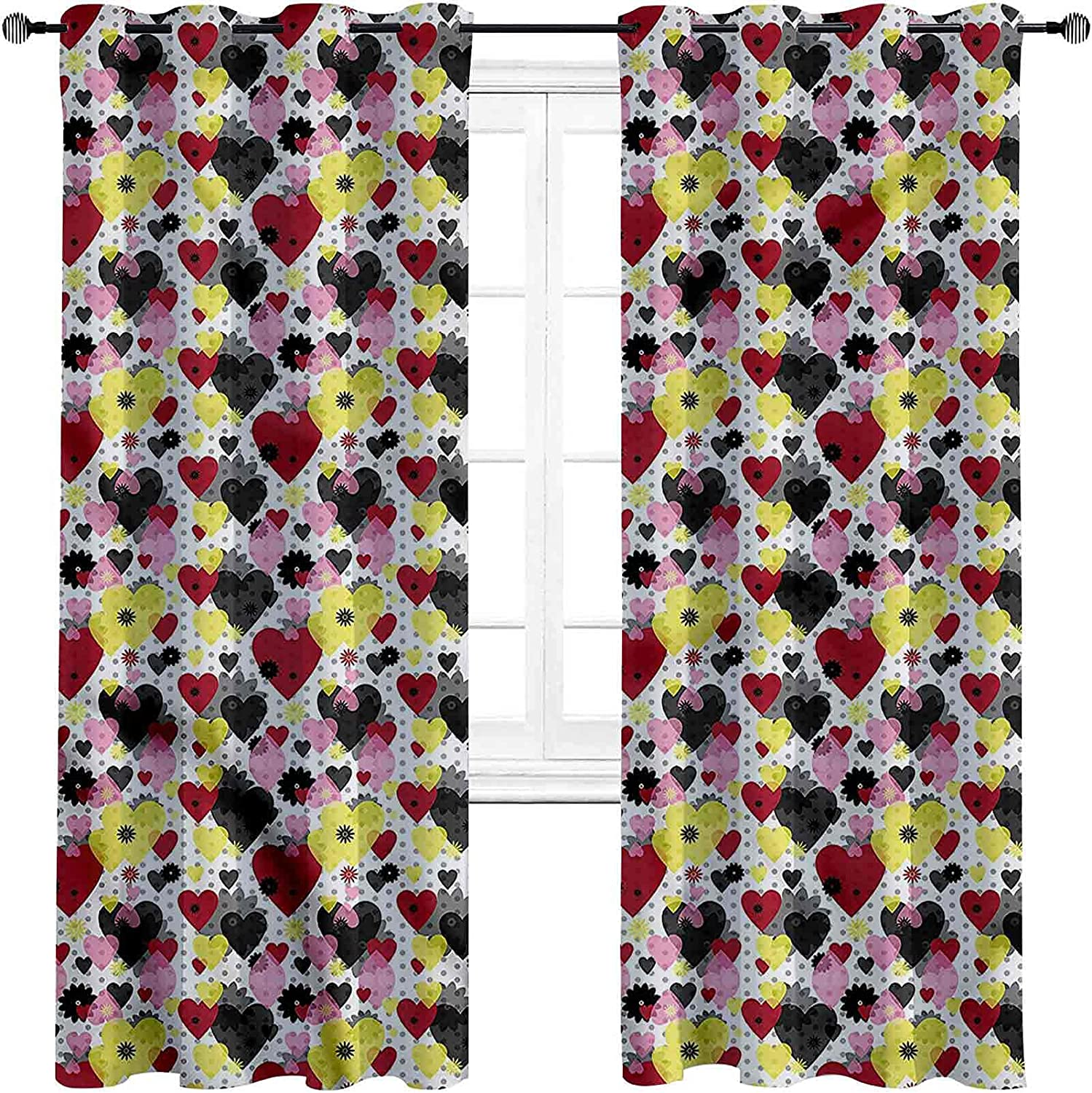Hearts Shading Insulated Curtain Love and Symbols Max 59% OFF Thre Flowers OFFicial store