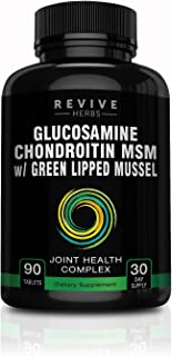 Glucosamine Chondroitin MSM with New Zealand Green Lipped Mussel - Supports Joint Flexibility, Connective Tissue & Cartilage Health - Includes Boron, Alfalfa, Yucca Root, Devil's Claw & More
