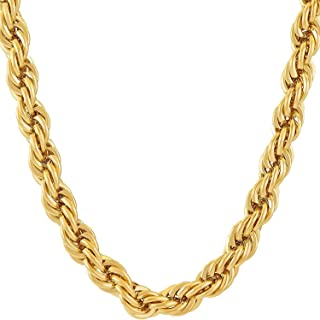 Dubai Collections 7MM Rope Chain 24K Gold Fashion Jewelry Pendant Necklace Wear Alone or w/Pendants, Guaranteed for Life