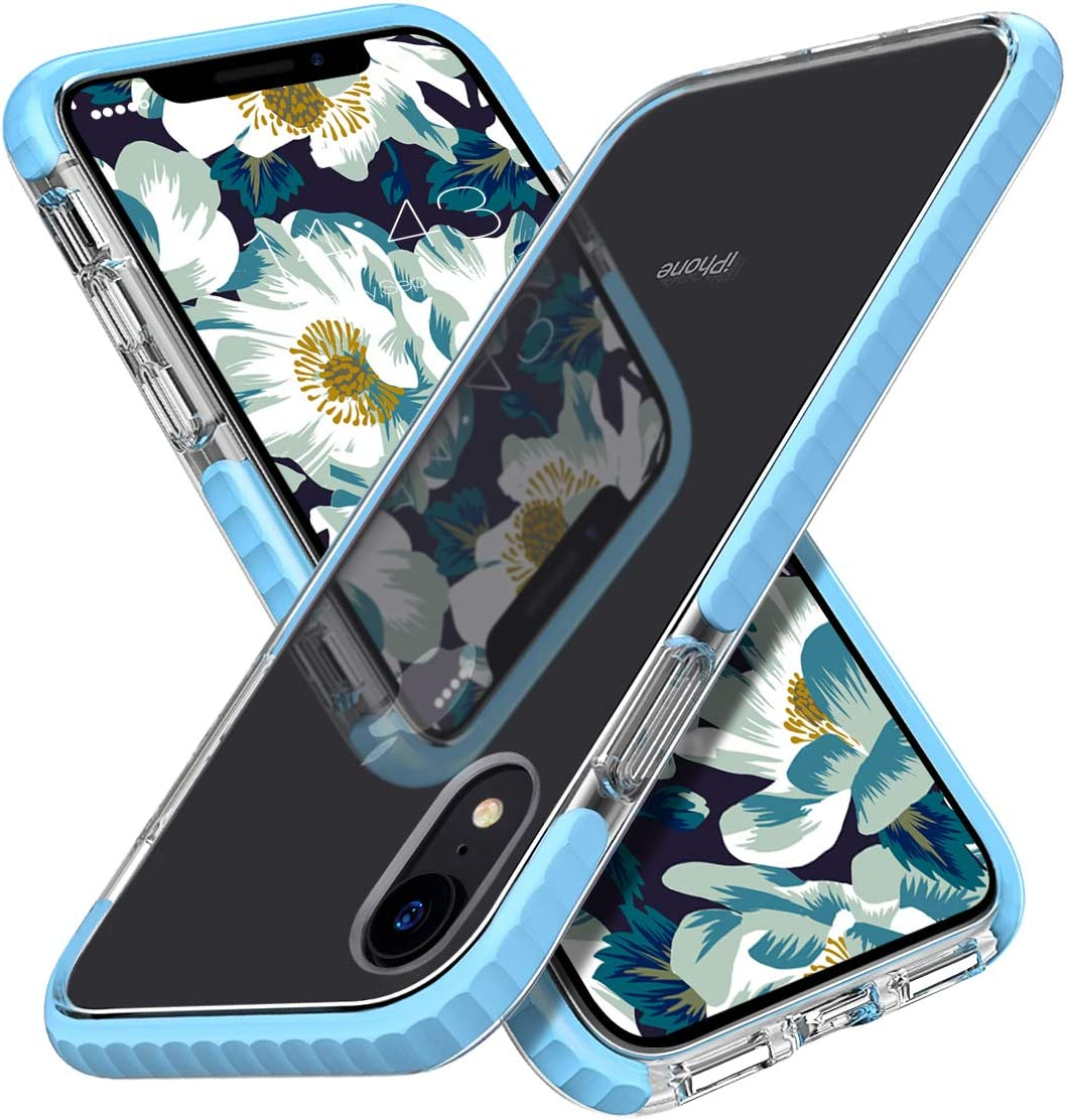 MATEPROX iPhone XR Case Clear Thin Slim Anti-Yellow Anti-Slippery Anti-Scratches Cover Shockproof Bumper Case for iPhone XR 6.1'' (Blue)