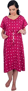 My Bella Mama Designer Hospital Delivery Gown: Easy epidural, fetal Monitoring, IV Access