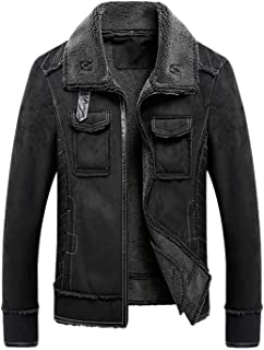 chouyatou Men's Winter Thick Sherpa Lined Full-Zip Military Suede Leather Biker Jacket