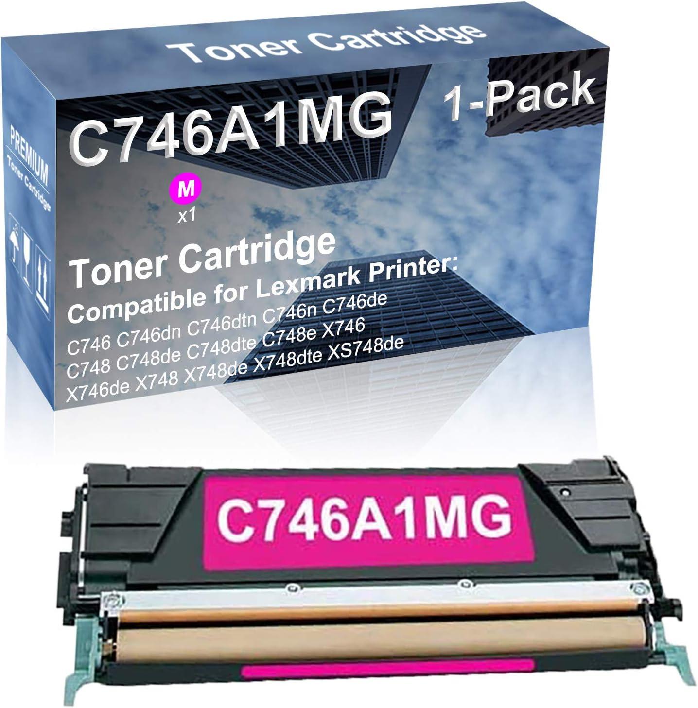 1-Pack (Magenta) Compatible C748 C748de C748dte C748e X746 Printer Toner Cartridge High Capacity Replacement for Lexmark C746A1MG Toner Cartridge